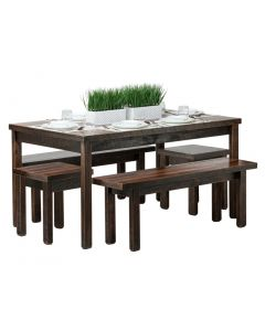 Reclaimed Wooden Dining Table Set 1.5m - Staggered Finish
