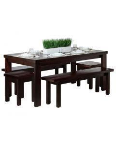 Reclaimed Wooden Dining Table Set 1.8m - Walnut