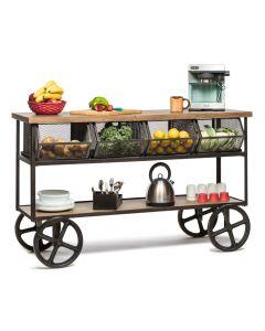 Kitchen Island Wooden Iron Trolley with 4 Basket Storage