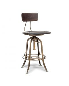 Dark French Brass Industrial Wooden Bar Stool Chair