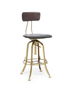 Industrial Swivel Height Adjustable Gold Black Bar Stool Chair with Back