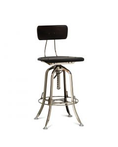 Industrial Wooden Iron Bar Stool Chair in Nickel Finish