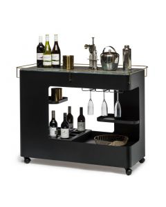 Black Gold Bar Cabinet Cart Contemporary Drinks Trolley Wine Storage with Marble Top