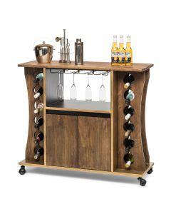 Wooden Wine Bar Storage Cabinet Rack