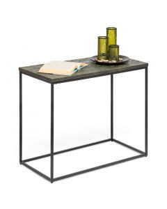 Black Narrow Sofa Side Table with Textured Wood Top