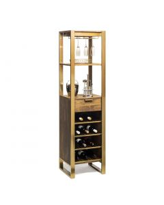 Tall Wooden Wine Storage Rack with Drawer