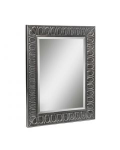 Rectangle Large Black Wall Mirror with Silver Embossed Frame