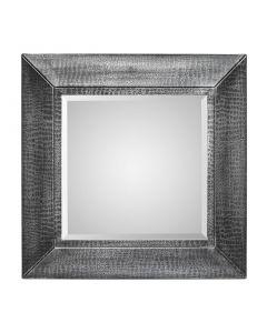Square Silver Wall Mirror - Croc Pattern
