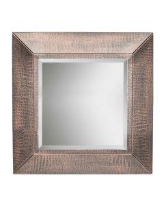 Decorative Small Square Wall Mirror with Croc Pattern – Copper Finish