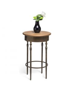 Round Side Table with Finial Legs and Wood Top in Dark French Brass Finish