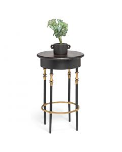 Round Gold Black Side Table with Finial Legs and Wood Top