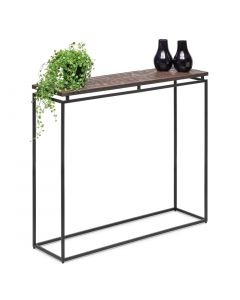 Black Narrow Hallway Console Table with Copper Textured Wood Top