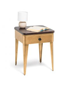 Modern Bedside Table with Storage Drawer and Wood Top in Brass Finish