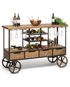 Industrial Multi-levelled Wooden Drinks Trolley Bar Cart with Wine Rack