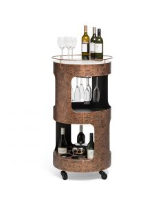 Round Marble Drinks Trolley Bar Cart with Copper Textured Iron Frame