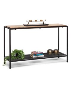 Black Hallway Console Table with 2 Shelves and Distressed Wood Top