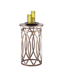 Round Designer Iron Side Table - Brass Finish