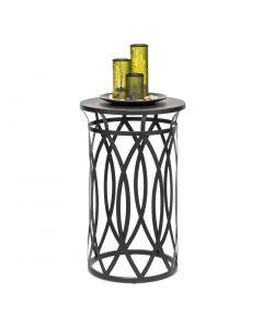 Round Corner Side Table with Cross Designer Legs - Silver Black