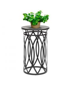 Round Iron Side Table with Cross Designer Legs - Black Gold