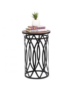 Round Iron Side Table with Cross Designer Legs Copper Black