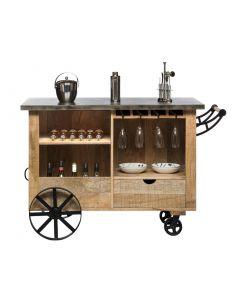 Large Wooden Vintage Bar Trolley Cart