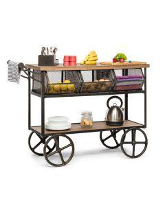 Kitchen Storage Wooden Iron Trolley with 3 Baskets