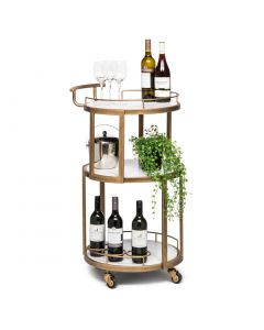 Round White Marble Bistro Drinks Trolley in French Brass