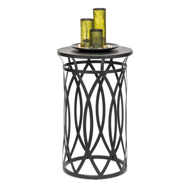 Round Corner Side Table with Cross Designer Legs - Silver Black
