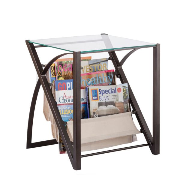 Magazine Glass Side Table