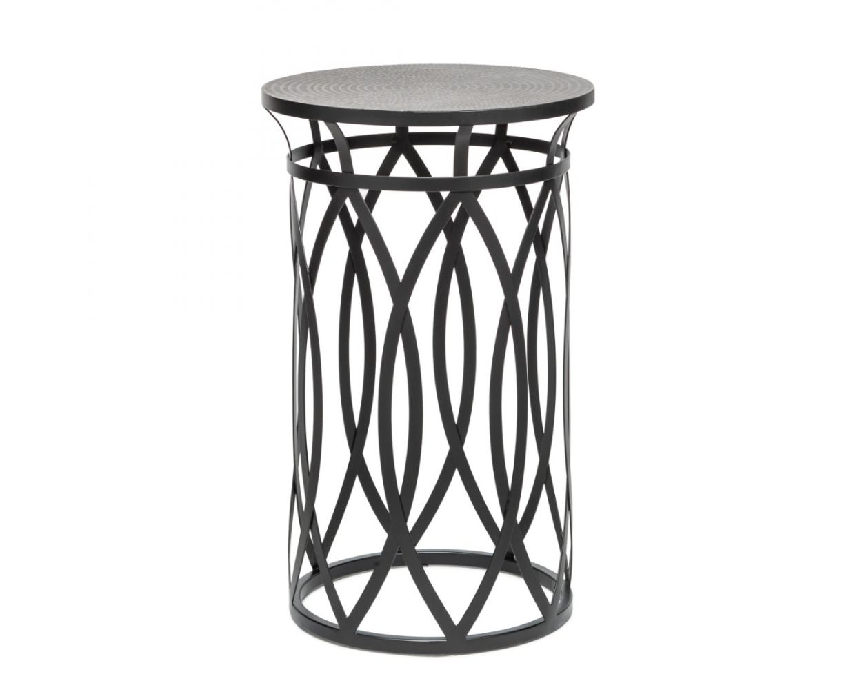 Picture of: Corner End Side Table With Cross Designer Legs Engraved Silver Black Finish Top