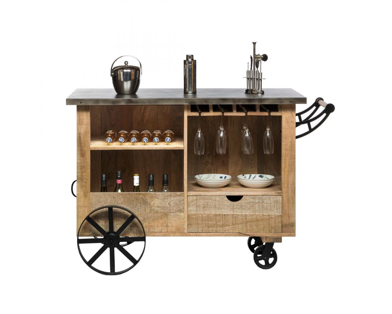 Large Industrial Bar Cart Cabinet Trolley