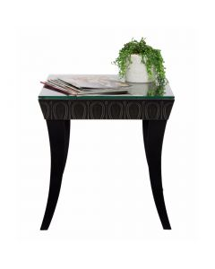 Black Iron Glass Side Table