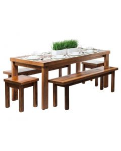Reclaimed Wooden Dining Table Set 2m - Blonde Finish