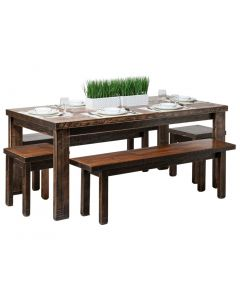 Reclaimed Wooden Dining Table Set 1.8m - Black X Marks