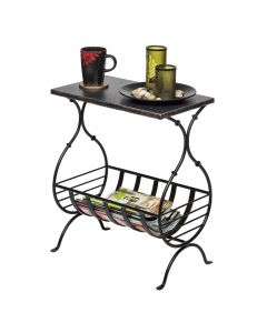 Magazine Iron Side Table - Silver Finish