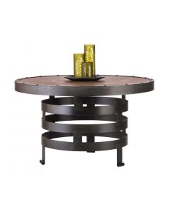 Wooden Iron Round Coffee Table with Spiral Design
