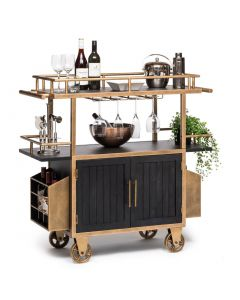 3-Tier Urban Industrial French Brass and Black Drinks Trolley Cart