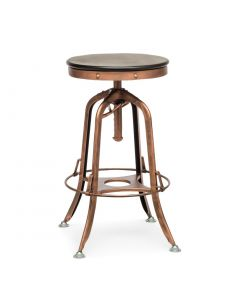 Wood Metal Industrial Bar Stool Antique Copper