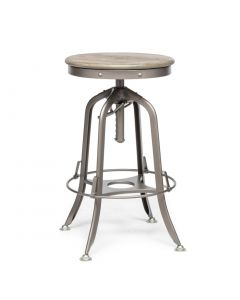 Grey Industrial Bar Stool with Oak Wood Top