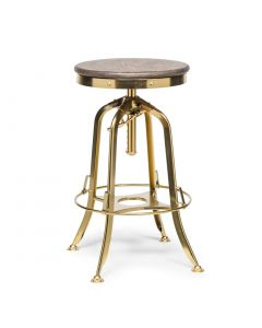 Industrial Wooden Gold Swivel Bar Stool