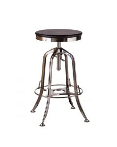 Wooden Iron Industrial Bar Stool in Nickel Finish