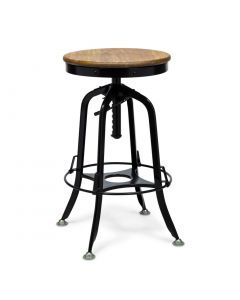 Black Industrial Bar Stool with Wood Top