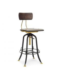 Vintage Black Gold Industrial Bar Chair