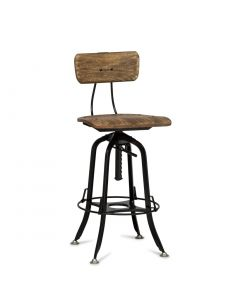 Rustic Style Wood Iron Black Bar Chair