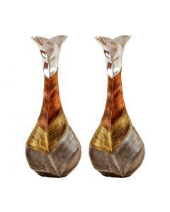 Aluminium Banana Leaf Vase - Set of 2