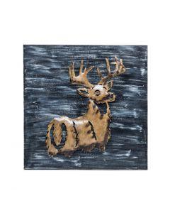 3D Wall Art Display Deer Wooden Iron Home Decor