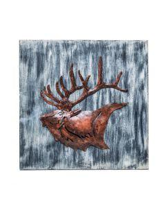 Wall Art 3D Display Reindeer Wooden Iron Handmade Decor