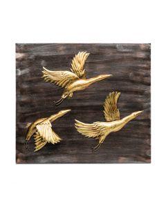 Handmade Birds Wall Art 3D Wooden Iron Display