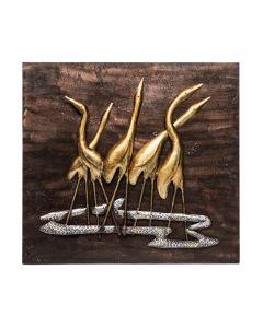 Handmade Flamingo Wall Art 3D Wooden Iron Decor