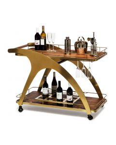 Wooden Drinks Serving Trolley in French Brass Colour